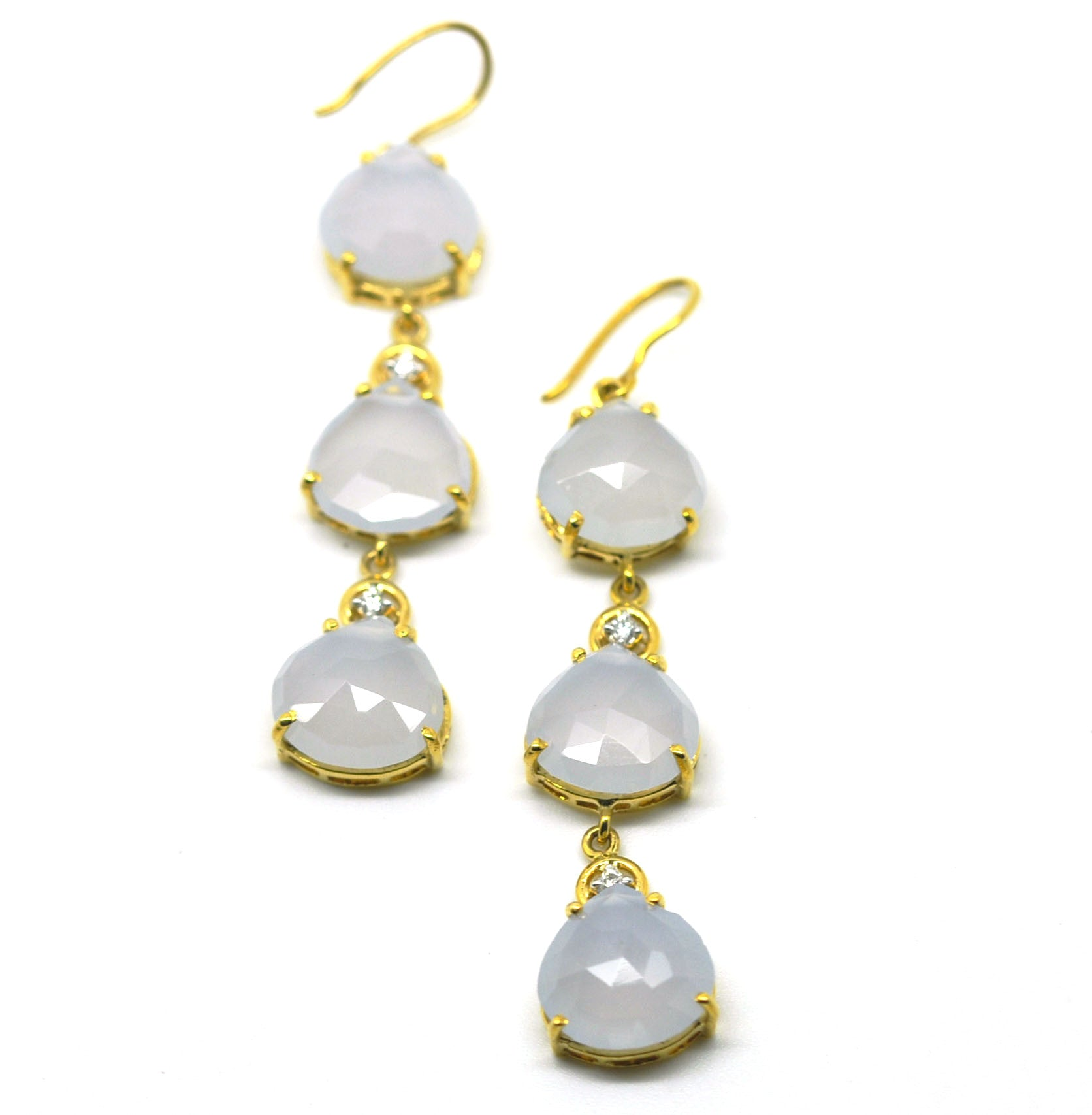 Chalcedony and diamond earrings