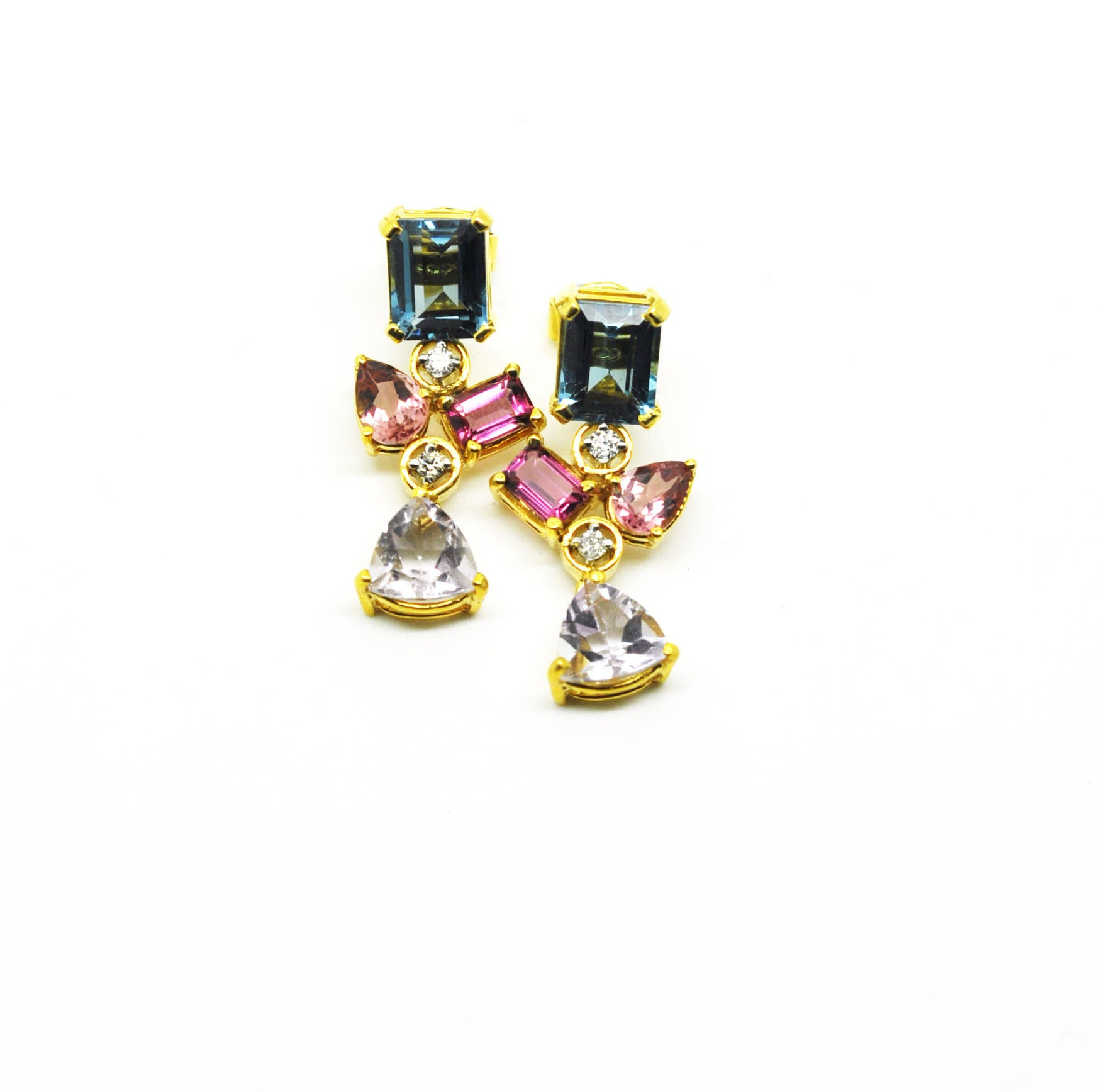 ON SALE - Amethyst, Topaz and tourmaline earring