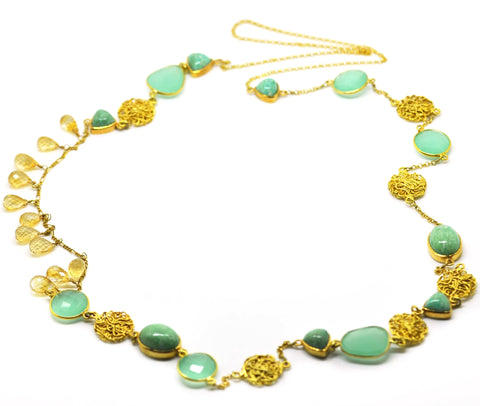 gold plated Chalcedony, amazonite, citrine necklace