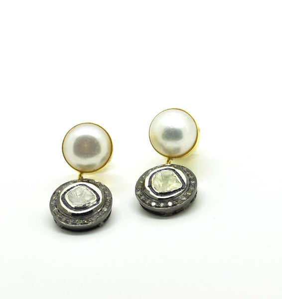 SOLD Polki and Pearl earrings