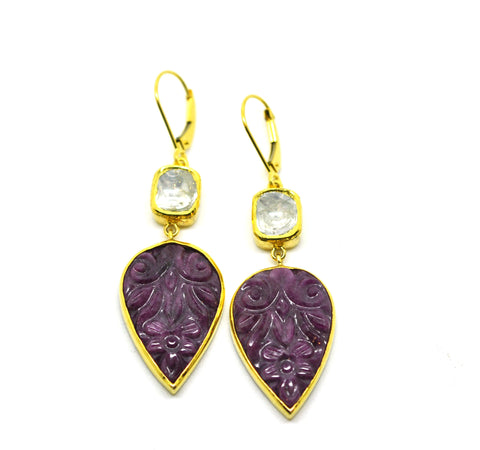 SOLD ON SALE Polki & Ruby earrings