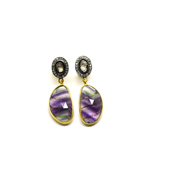 SOLD NEW Polki and Fluorite earrings