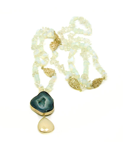 ON SALE Druzy and opal necklace