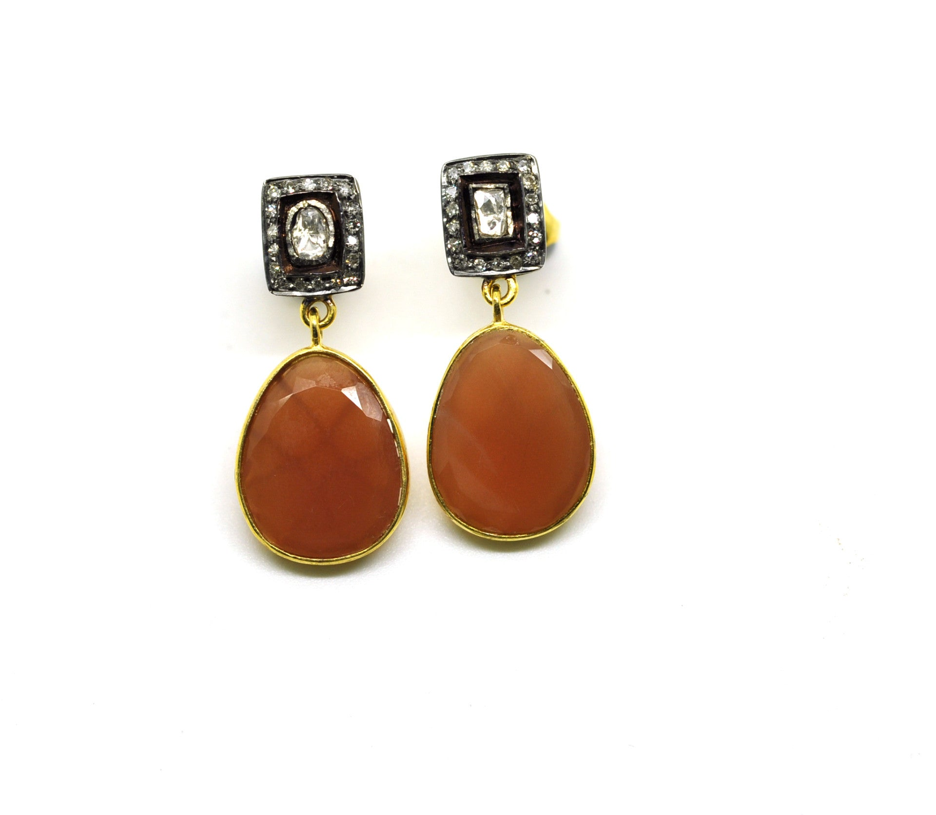 ON SALE  Polki and moonstone earrings