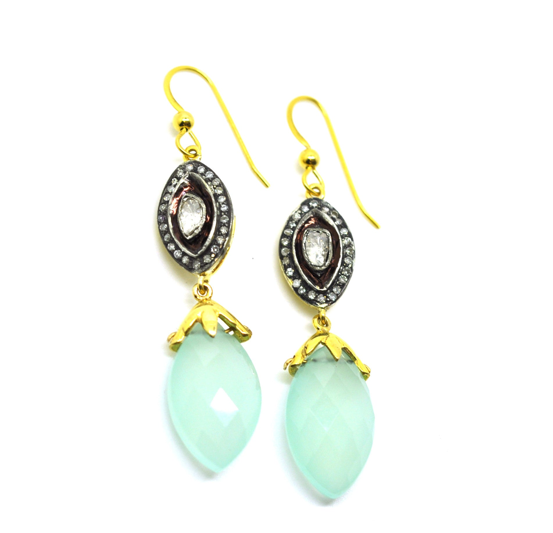 ON SALE  Polki & Chalcedony earrings
