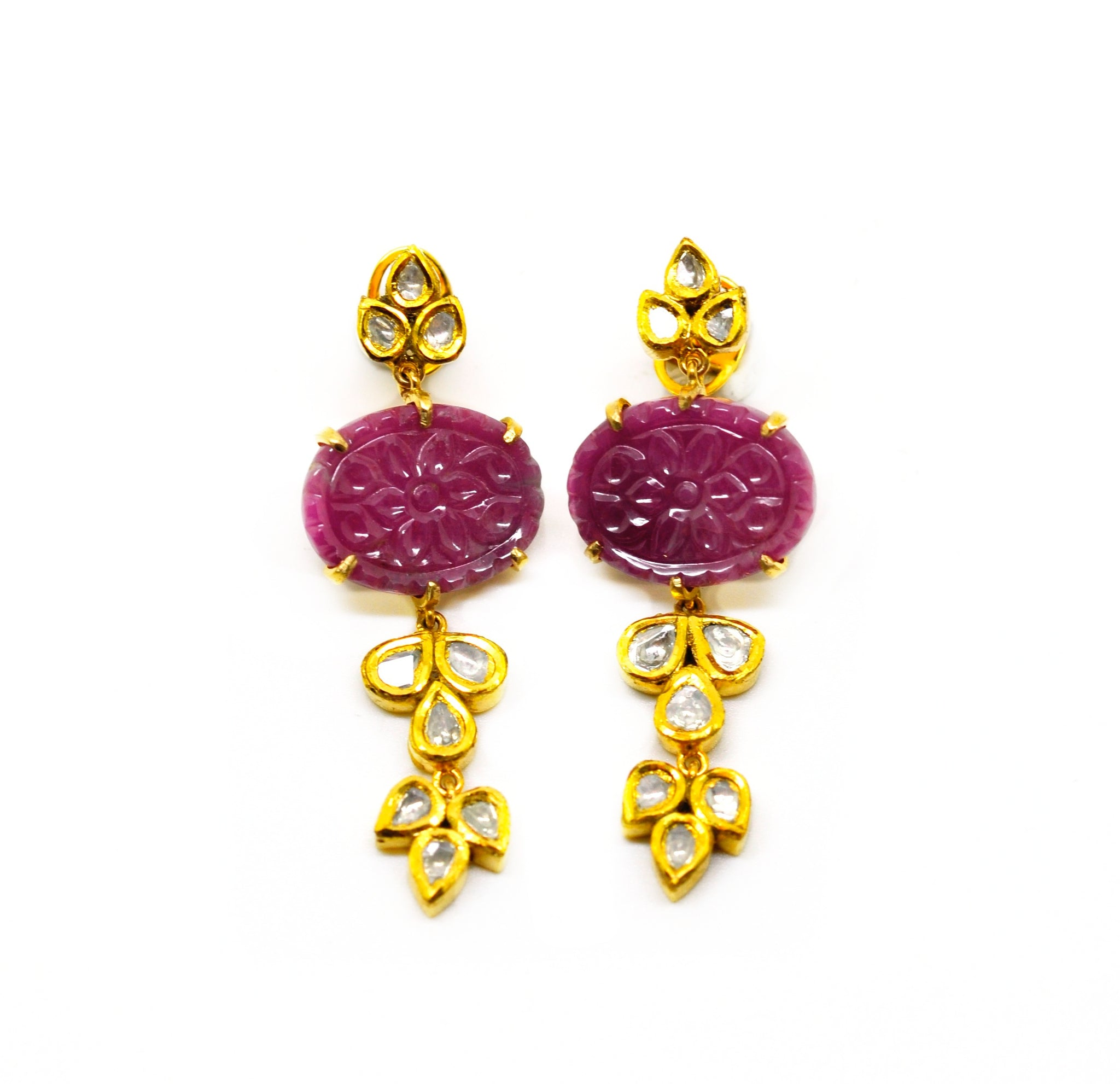 NEW Carved Ruby and Polki earring