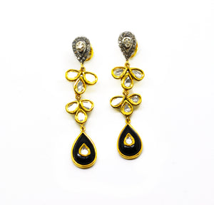 NEW Black onyx polki earring