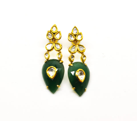 NEW Aventurine and Polki earring