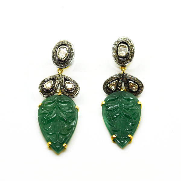 Carved Aventurine Polki earring