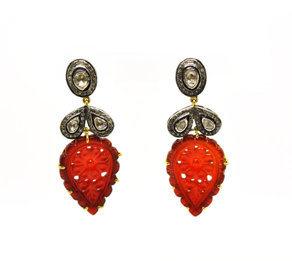 NEW Carved onyx and polki earring