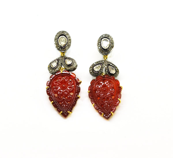SOLD - NEW Carved onyx and polki earring