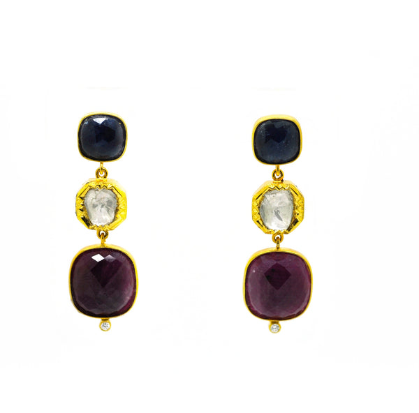 SOLD - NEW Blue Sapphire & Ruby earring
