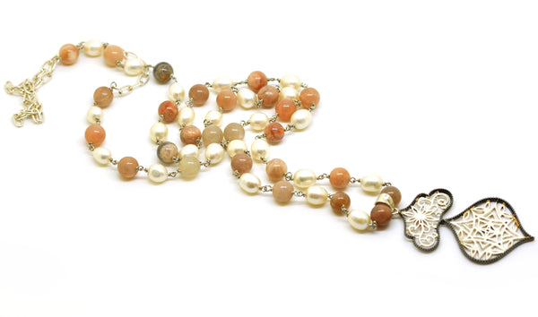 SOLD - ON SALE - Moonstone and pearl 2