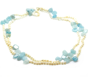 NEW Aquamarine and Pearl long necklace