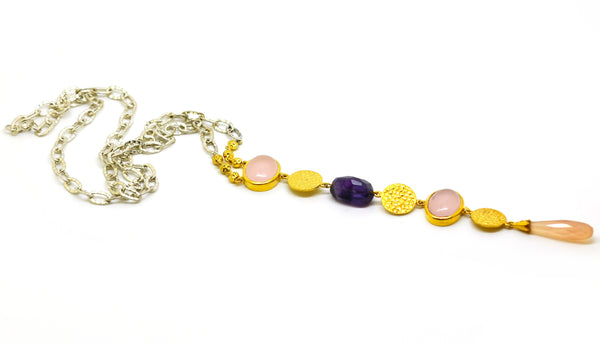 SOLD-ON SALE Multi gemstone long pendant 4 (Clearance)