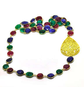 NEW - Ruby, Emerald, Sapphire necklace