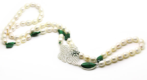 NEW Pearl and Malachite necklace
