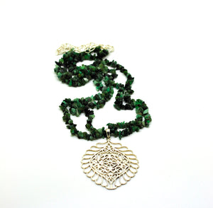 ON SALE Filigree and Emerald necklace