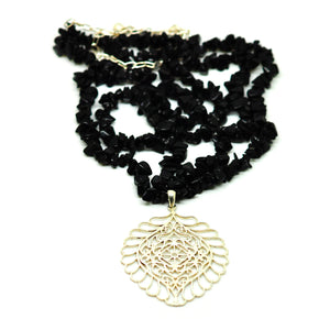 ON SALE Filigree and black onyx necklace