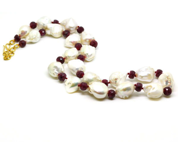 SOLD - NEW baroque pearl and ruby necklace