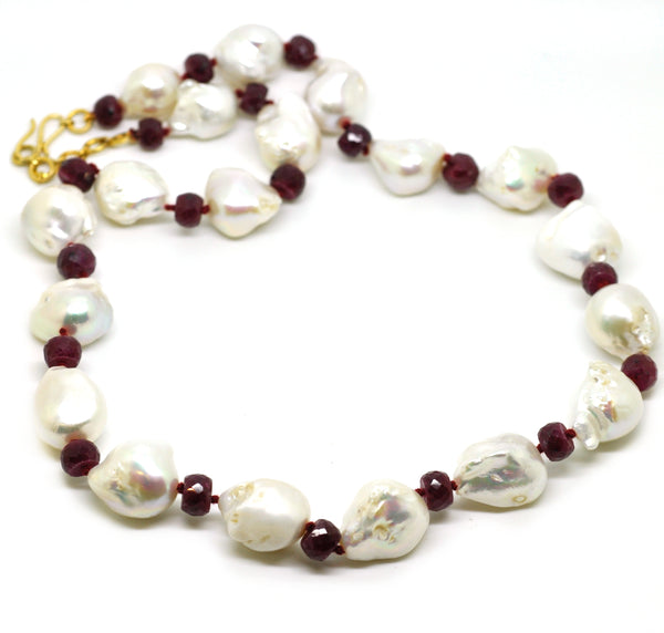 NEW baroque pearl and ruby necklace