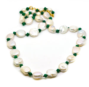 SOLD - NEW baroque pearl and emerald necklace
