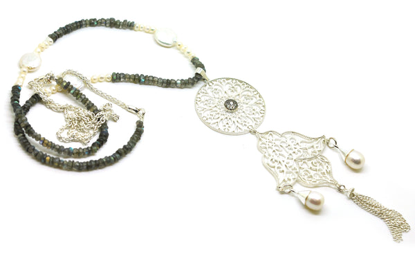 ON SALE Long Filigree tassel necklace