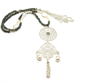 NEW Long Filigree tassel necklace
