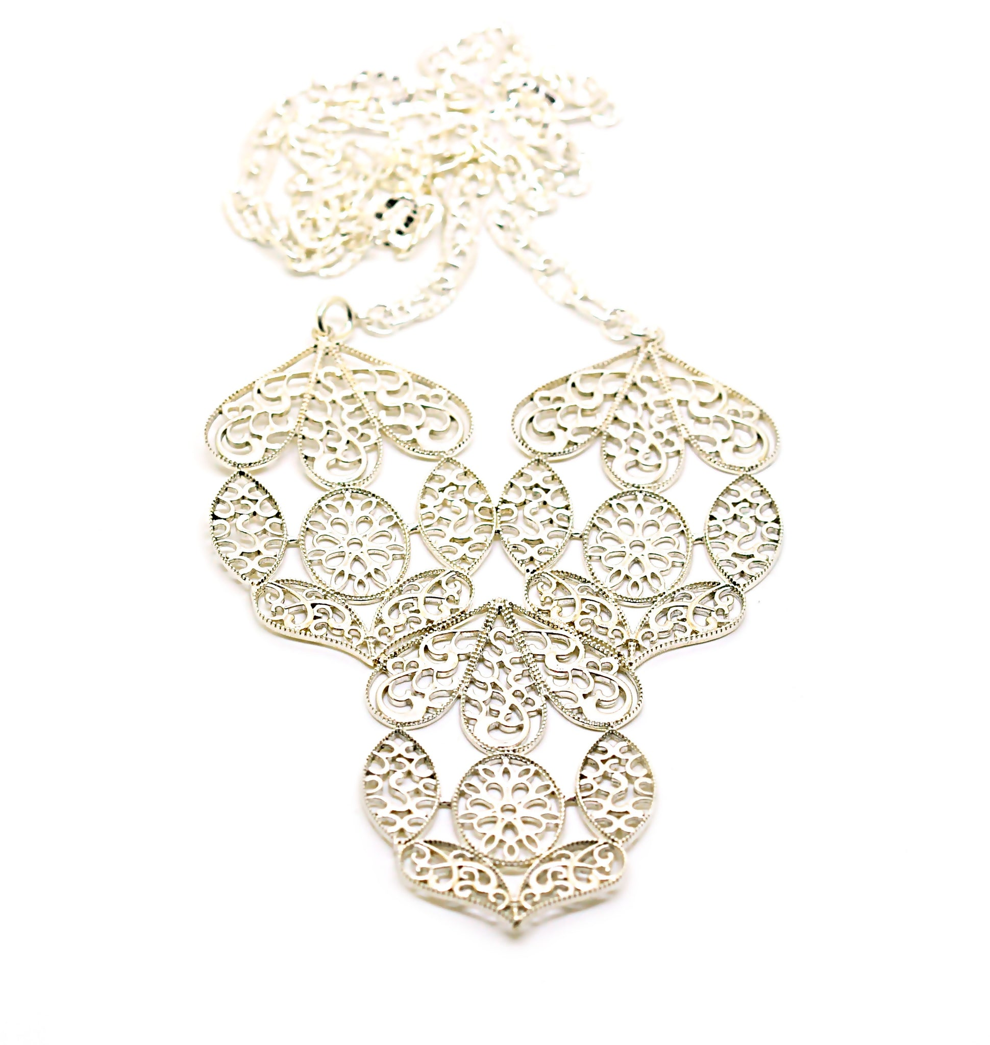 ON SALE Large filigree necklace