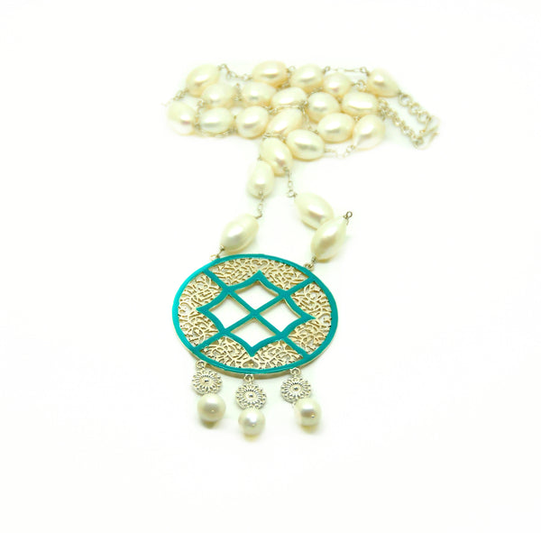 NEW Pearl and enamel filigree necklace
