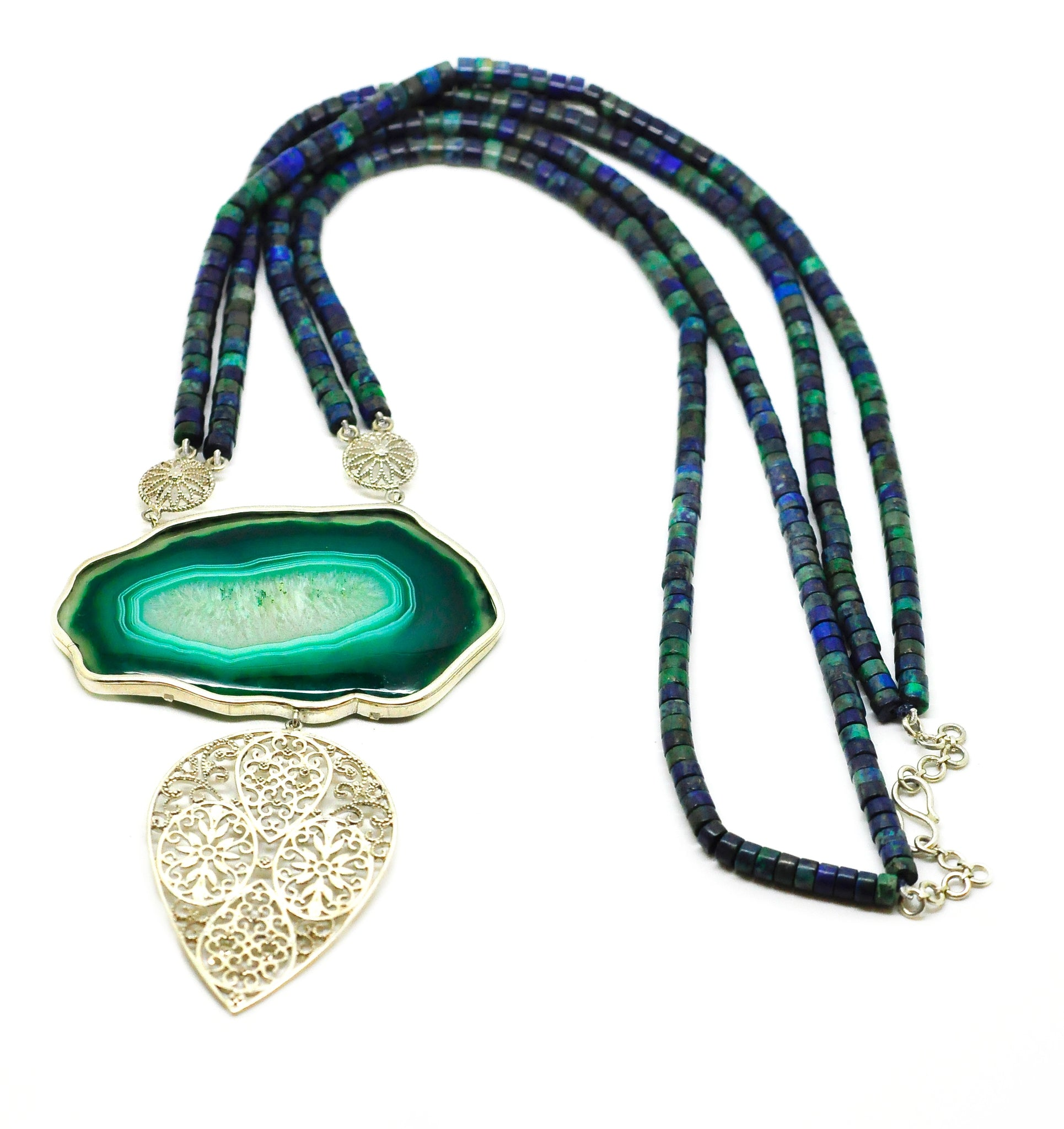 20 in 2020 - Agate Druzy necklace with Lapis chrysocolla