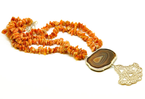 ON SALE Druzy necklace with sunstone and Filigree
