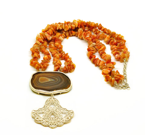 NEW Druzy necklace with sunstone and Filigree