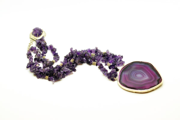 SOLD - NEW Druzy And Amethyst necklace