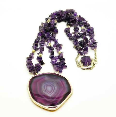 NEW Druzy And Amethyst necklace