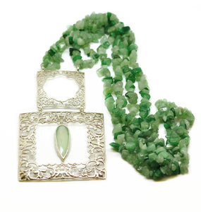 NEW Square filigree Aventurine necklace