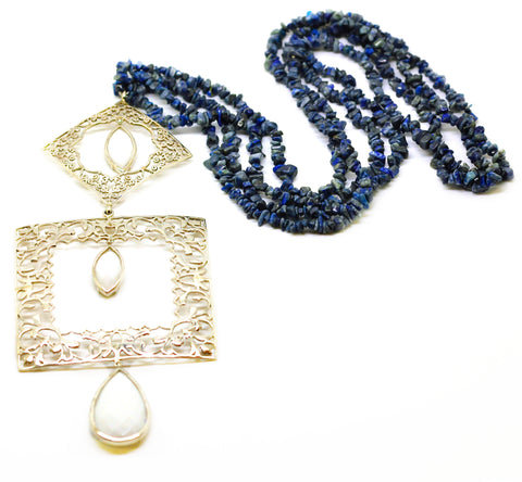 NEW Square Filigree Lapis necklace