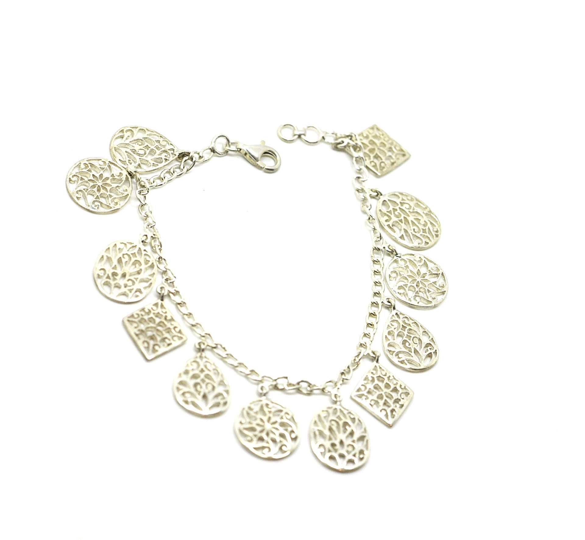 ON SALE Filigree Charm Bracelet (10 inches length)