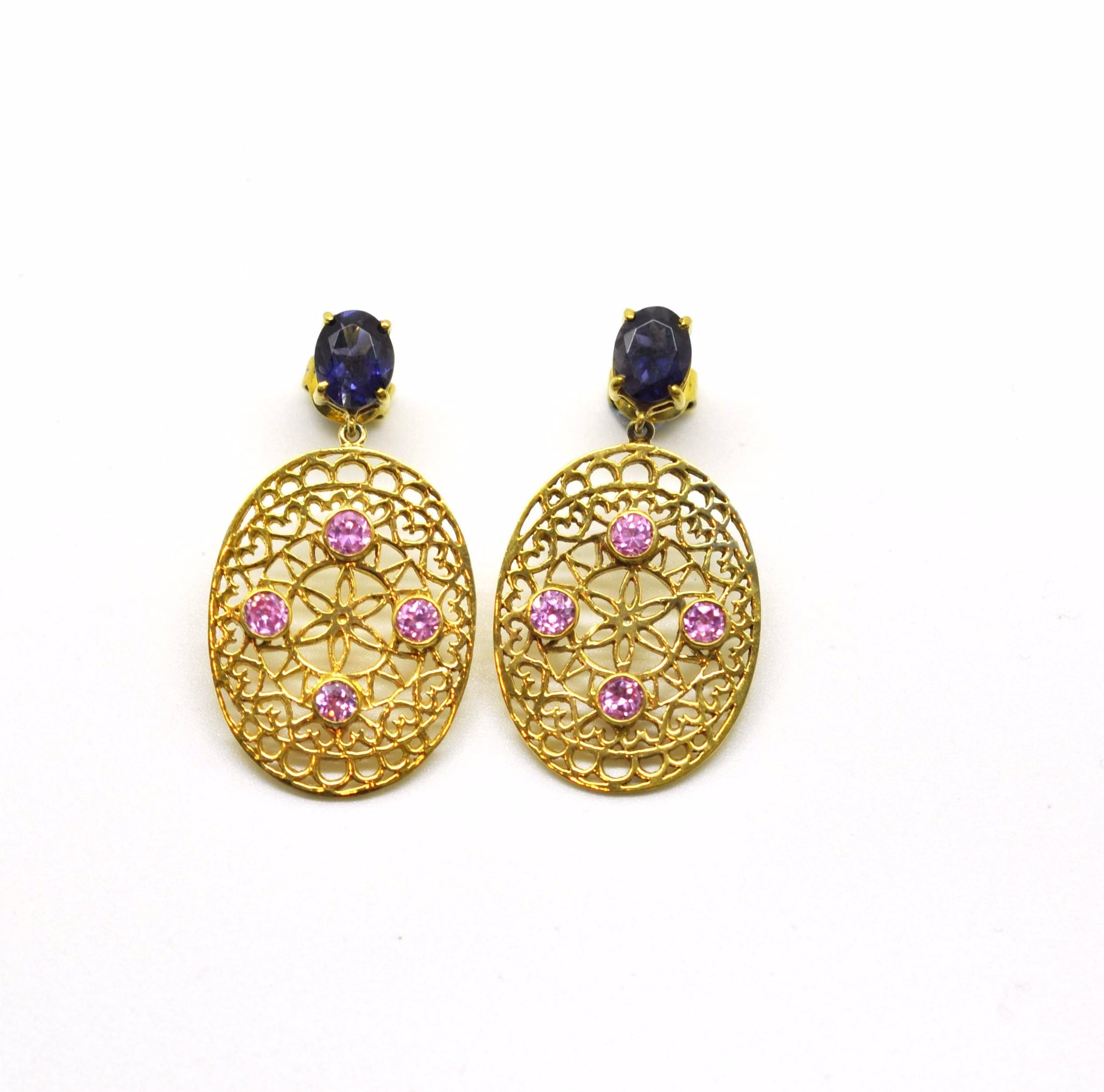 ON SALE Filigree Pink topaz and Iolite earring