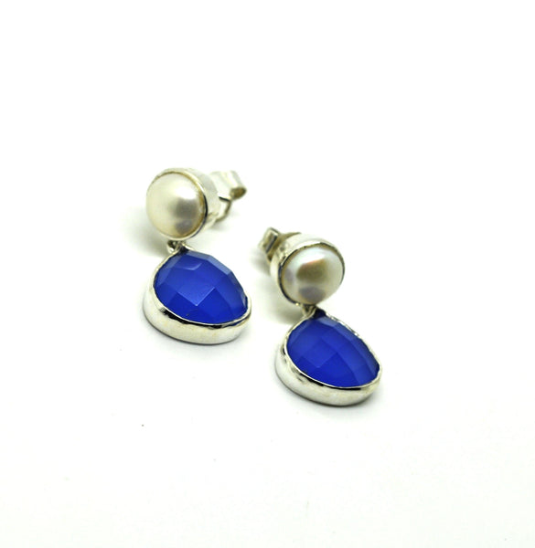 ON SALE Pearl and Chalcedony earring (clearance)