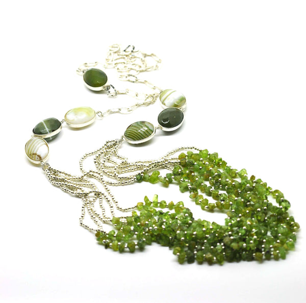 ON SALE Agate & Peridot necklace
