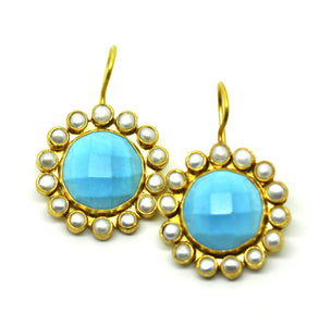 ON SALE Small pearl and Turquoise earring (clearance)