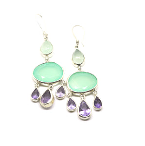 ON SALE Chalcedony and amethyst earring (clearance)