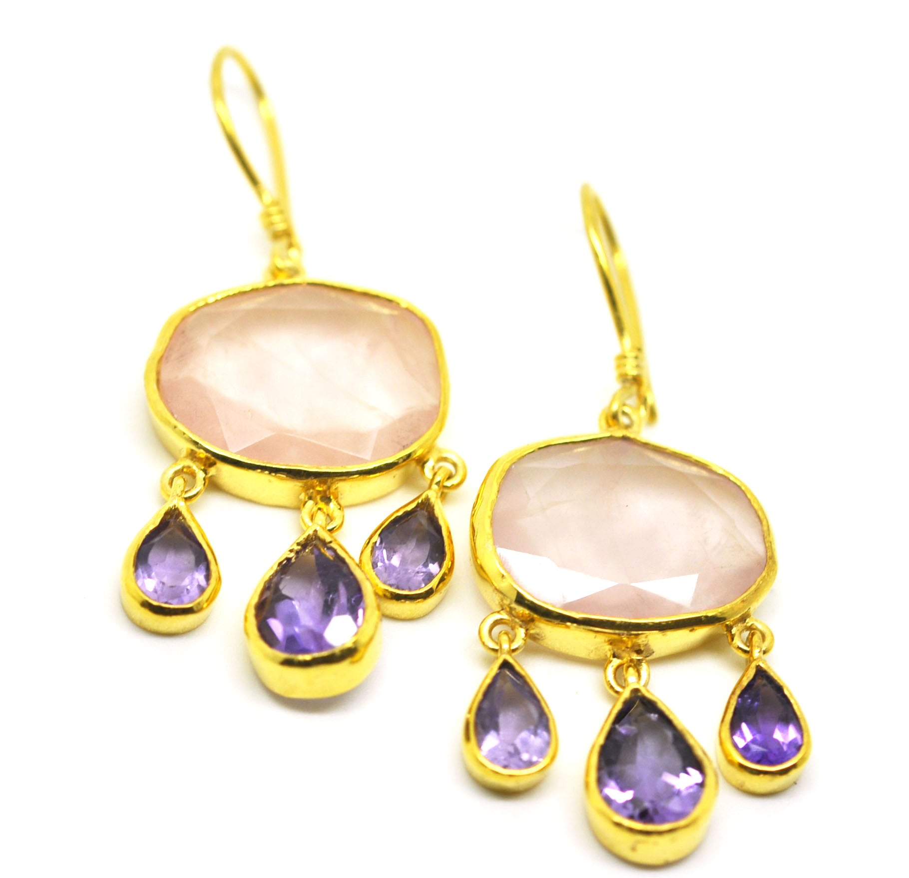 ON SALE Rose quartz and Amethyst earrings (clearance price)
