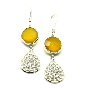 SOLD - ON SALE Filigree drop Yellow Chalcedony (clearance)