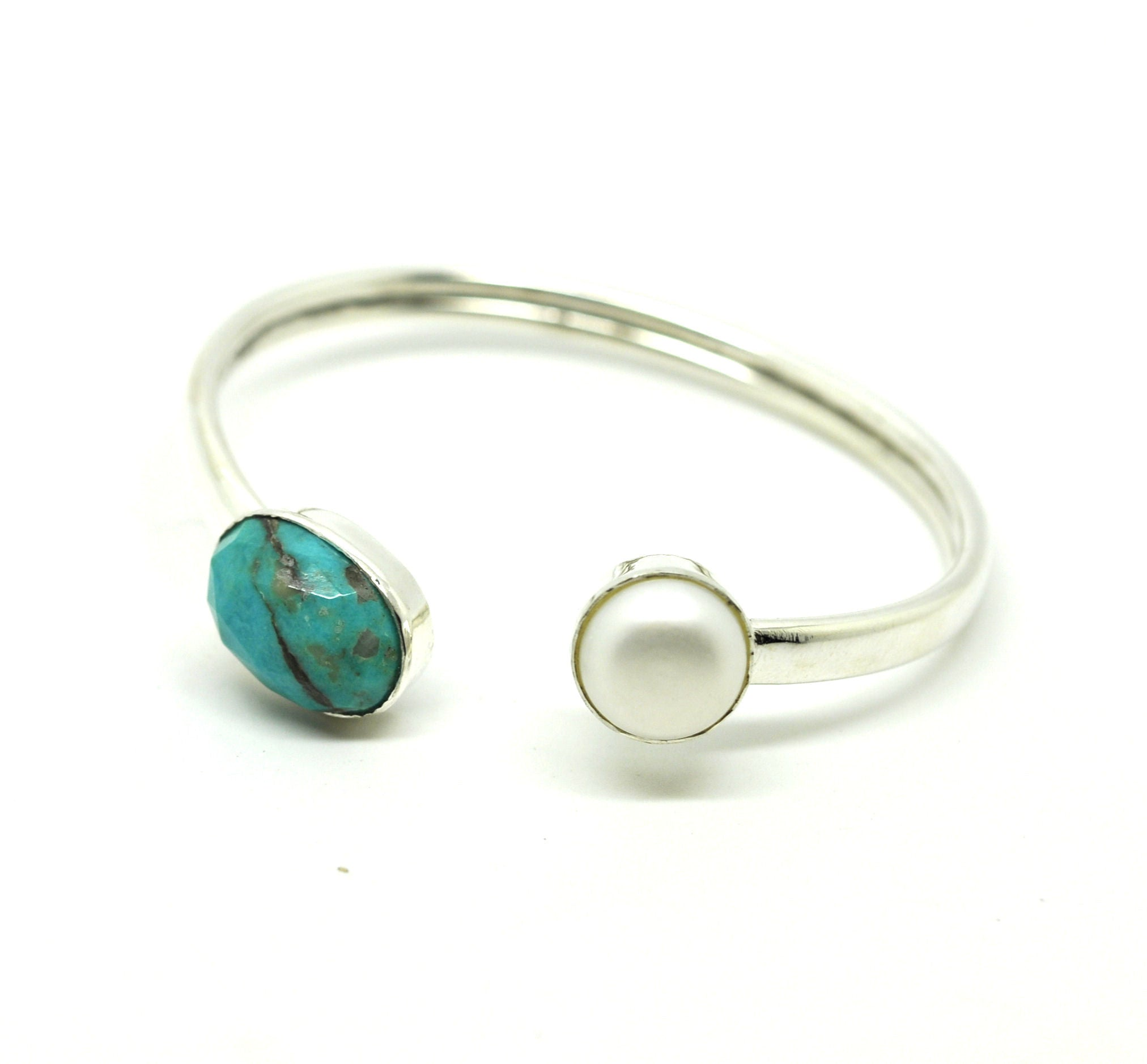 SOLD - ON SALE Thin cuff - Pearl and Turquoise (clearance)