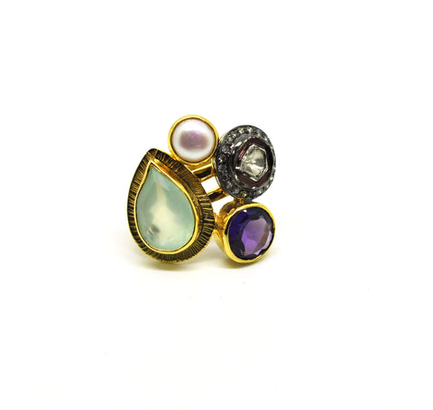 CLEARANCE SALE  Polki & Gemstone Ring