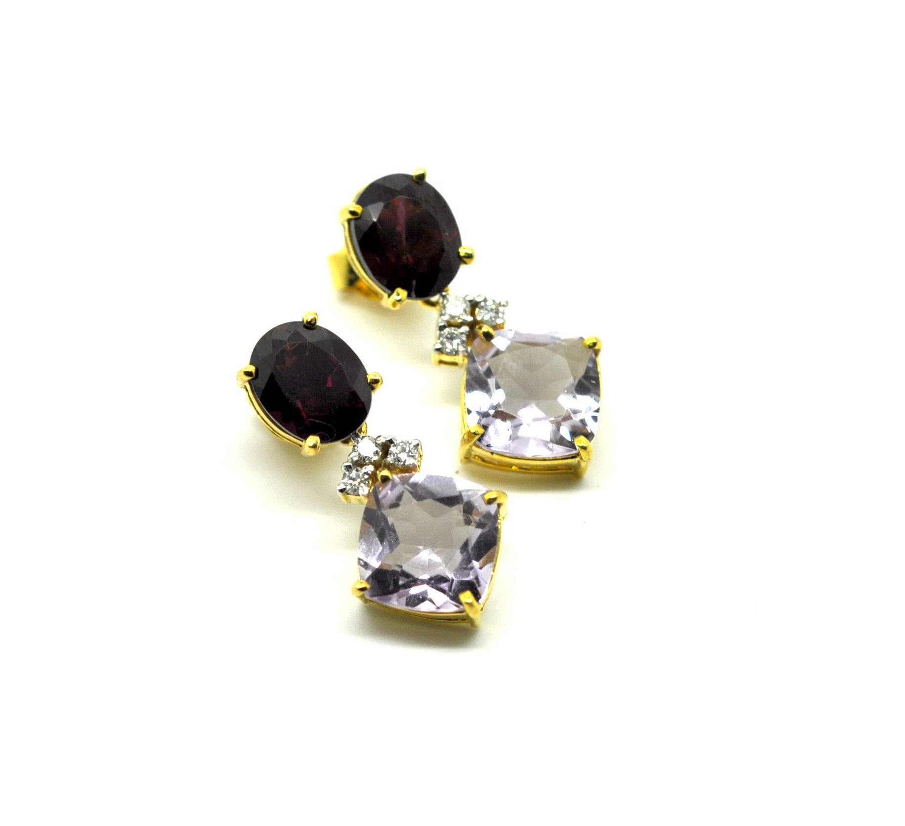 ON SALE Garnet and Amethyst diamond earring