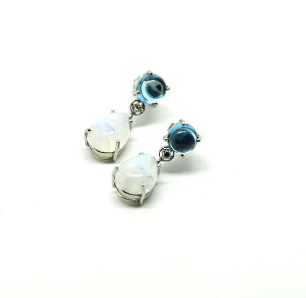 ON SALE Blue topaz and moonstone diamond earring