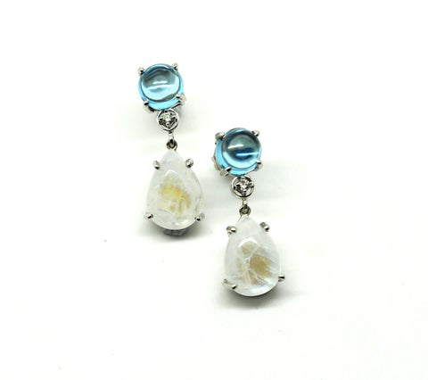 Blue topaz and moonstone diamond earring